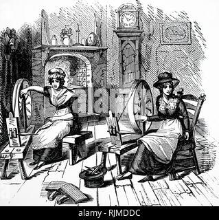 """Illustrazione che mostra la filatura a mano, di cardatura e di stoppino. Il filo """"carte"""" o """"pettini"""" sono in primo piano a sinistra. 1848 Immagini Stock"""