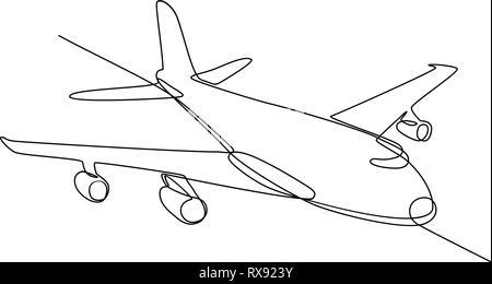 Linea continua illustrazione dei jumbo jet piano passeggero aereo di linea o aereo in volo in pieno volo a mezz aria fatto in bianco e nero in stile monolinea Immagini Stock