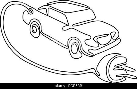 Rappresentazione in linea continua illustrazione di un veicolo elettrico, in auto o in automobile con cavo di ricarica e la spina in uscita effettuata in schizzo o doodle style Immagini Stock