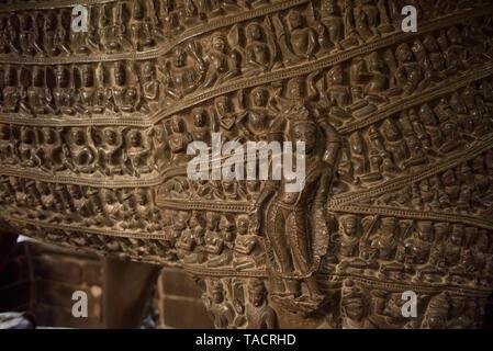 Sculture scolpite sulla Varaha tempio, Khajuraho, Madhya Pradesh, India, Asia Immagini Stock