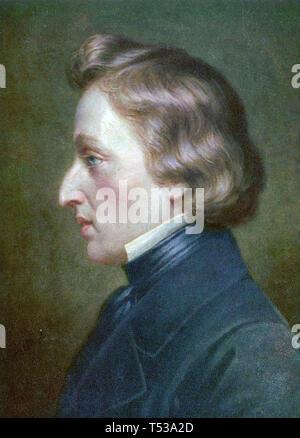 FRÉDÉRIC CHOPIN (1810-1849) polacco compositore romantico circa 1850 Immagini Stock