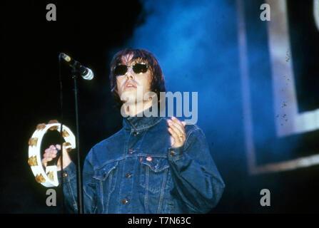 Oasi inglese del gruppo rock con Liam Gallagher nel 1996. Immagini Stock