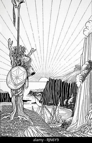 Trofeo istituito sulla riva dal squadrone ateniese sotto Phormio per contrassegnare la loro vittoria a Naupactus contro una molto maggiore forza Peloponneso. Guerra Peloponneso (seconda, o grande) 431-404 BC tra Atene e Sparta. Illustrazione di W. Gordon Mein 1910 Immagini Stock