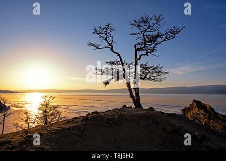 Olkhon isola nel lago Baikal al tramonto, Siberia, Russia Immagini Stock