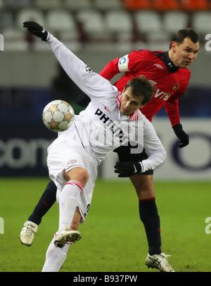 La Russia s CSKA Soccer team è incontro a Mosca con i Paesi Bassi il PSV Eindhoven nel 5° round della Immagini Stock