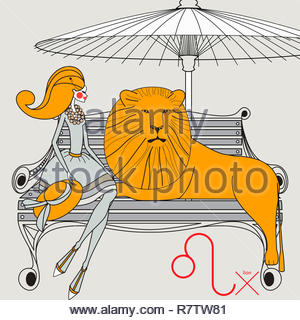 Modello di moda come leone segno zodiacale Immagini Stock