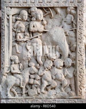 L'imperatore Ashoka il grande in elefante, del I secolo A.C. Trovato nella raccolta di monumenti buddisti a Sanchi. Immagini Stock