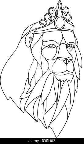 Mosaico di basso Stile del poligono illustrazione di una principessa lion con grande mane indossa una tiara corona se visto dalla parte anteriore sulla isolato sfondo bianco in nero a Immagini Stock