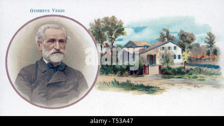 GIUSEPPE VERDI (1813-1901) Italiano compositore operistico mostrato con la sua infanzia a casa a Le Roncole Immagini Stock