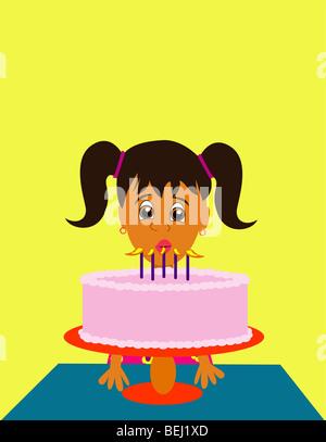 Ragazza che spegne le candeline sulla torta del compleanno, illustrazione Immagini Stock