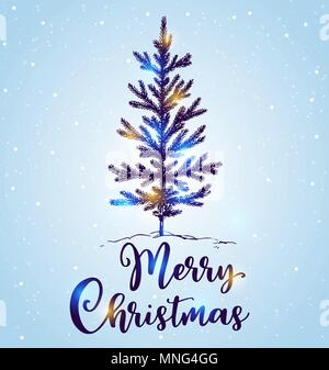 Disegnata a mano albero di Natale nella neve su uno sfondo blu. Buon Natale scritte. Design per biglietto di auguri. Immagini Stock