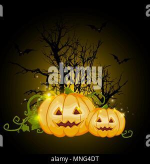 Orange zucche di Halloween e silhouette di albero su uno sfondo nero. Halloween biglietto di auguri. Immagini Stock