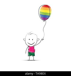 Cartoon cartoon boy tenendo un palloncino in mano in colori LGBT Immagini Stock