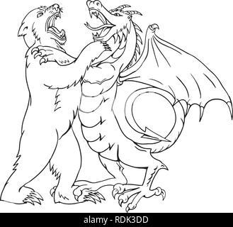 Schizzo di disegno illustrazione dello stile di un orso wrestling, giostre, sparring o combattendo contro un drago cinese isolato su sfondo bianco fatto in bianco e nero e Immagini Stock
