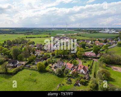 Vista aerea della cittadina di occhio nel Suffolk, Inghilterra Immagini Stock