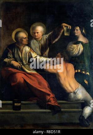 Santi Cosma e Damiano, tra 1534 und 1540. Presenti nella collezione della Galleria Borghese di Roma. Immagini Stock