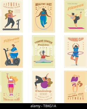 Le ragazze di Fitness più dimensioni per banner, poster, sfondi. Salute sport nel club. Set di tessere. Donna grassa facendo esercizi, perde peso, in fase di riscaldamento Immagini Stock