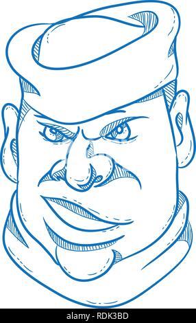 Lo stile del fumetto illustrazione di un marinaio arrabbiato, sailorman, marinaio, Mariner, o gente di mare indossando un cappello marinaio se visto dalla parte anteriore su sfondo isolato. Immagini Stock