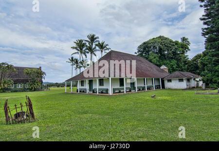 Hanalei Kauai Hawaii Waioli Casa di Missione 1841 più antica chiesa eretta in Kauai attrazione turistica di Immagini Stock