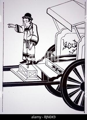 Illustrazione che mostra cinese carro magnetico. Il braccio della figura sempre evidenziato sud. Da John Timbs meravigliose invenzioni, Londra 1870 Immagini Stock