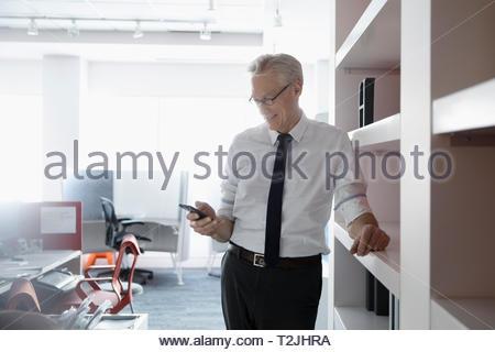 Imprenditore utilizzando smart phone in office Immagini Stock