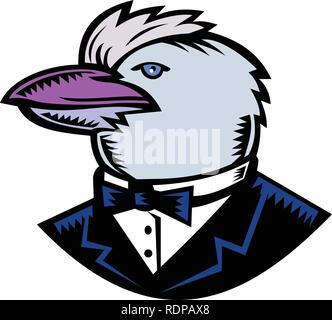 Retrò stile xilografia illustrazione della testa della Kookaburra, un albero terrestre kingfisher del genere Dacelo, nativo di Australia che indossa lo smoking cappotto e cravatta. Immagini Stock