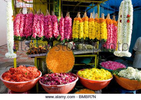 Un negozio di fiori in TRIVANDRUM Immagini Stock