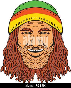 Disegno stile sketch illustrazione della testa di un Rastafarian, Rastafari o ragazzo Rastafarianism praticanti, indossando un beanie e dreadlocks su bianco backg Immagini Stock