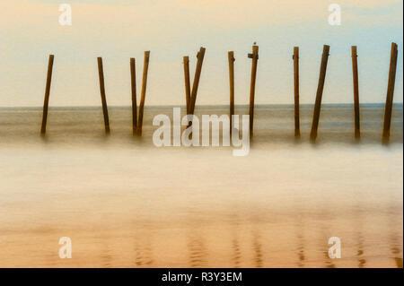 Cape May, New Jersey, Stati Uniti d'America, il mattino, pier, sunrise Immagini Stock