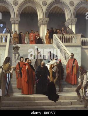 Gli ultimi momenti del Doge Marin Faliero, 1867. Trova nella collezione della Pinacoteca di Brera a Milano. Immagini Stock