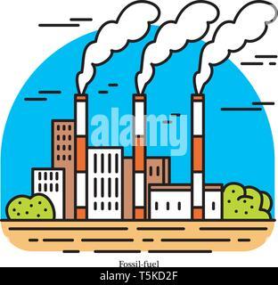Centrale elettrica a combustibili fossili. Potenza termica o stazione di generazione. Edificio industriale icona. Il carbone, il gas naturale o petrolio. Fonti ecologiche di Immagini Stock