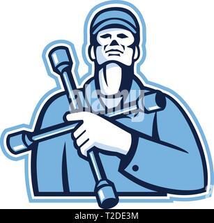 Illustrazione di un tecnico di pneumatico o meccanico pneumatico tenendo la chiave a 4 vie la chiave di manovra o pneumatico di ferro sul petto guardando verso l'alto se visto dalla parte anteriore sulla isolato whi Immagini Stock