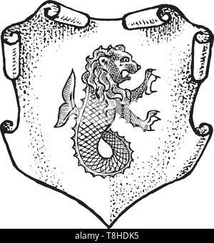 Per animale araldico in stile vintage. Inciso lo stemma con pesce leone, mitica creatura. Emblemi medievale e il logo del regno fantasy. Immagini Stock