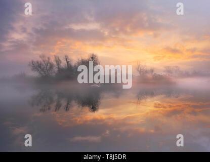 Paesaggio di nebbia all'alba, Italia Immagini Stock