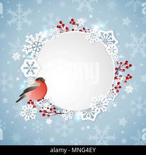 Vettore banner di Natale con bullfinch e fiocchi di neve bianca Immagini Stock