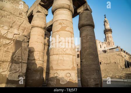 Close-up di colonne e il Tempio di Luxor Luxor Egitto Immagini Stock