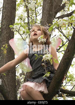 Bambina in fairy le ali scalando un albero Immagini Stock