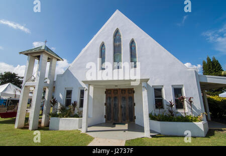 Kapaa Kauai Hawaii downtown village Kapaa prima Chiesa Hawaiiana 1879 Immagini Stock