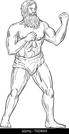 Disegno stile sketch illustrazione di un barbuto vintage boxer con barba folta, con i pugni sul petto pronti a combattere nella boxe combattimenti posizione su isolato Immagini Stock