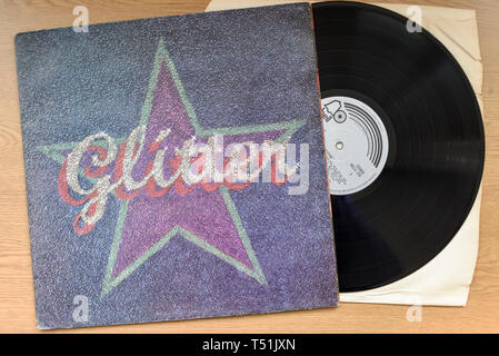Glitter album su vinile da Gary Glitter e il glitter Band. Immagini Stock