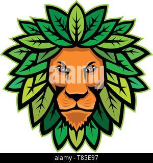 Icona di mascotte illustrazione della testa di leone con foglie come mane se visto dalla parte anteriore su sfondo isolato in stile retrò. Immagini Stock