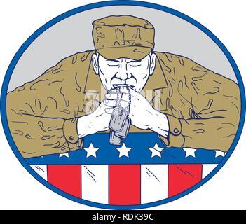 Schizzo di disegno illustrazione dello stile di un Africano soldato americano o veterano holding dog tag pregando nel corso stati uniti a stelle e strisce flag impostato all'interno ovale sul Immagini Stock