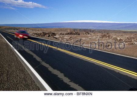 Park road e Mauna Loa, Parco Nazionale dei Vulcani delle Hawaii, Hawaii Immagini Stock