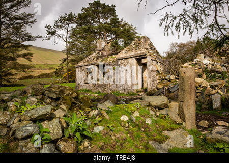 Irlanda del Nord, Co Down, Bassa Mournes, Curraghknockadoo, abbandonato rustico in località di montagna Immagini Stock