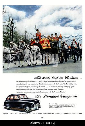 Pubblicità per la Standard Motor Company auto, lo Standard Vanguard, dal Festival della Gran Bretagna guida, Immagini Stock