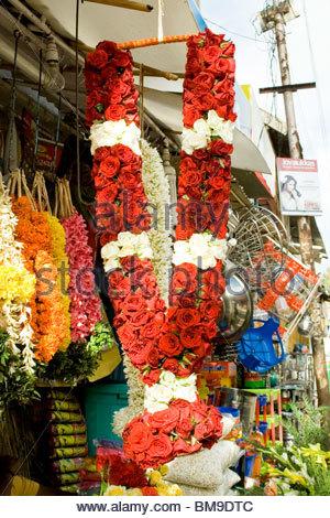 Un negozio di fiori in Kerala Immagini Stock