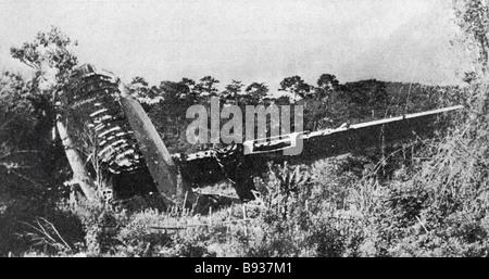 Resti di un aereo statunitense colpita da Lao guerriglieri Immagini Stock