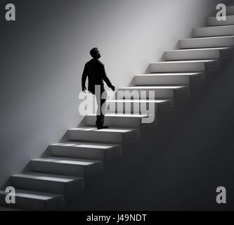 Uomo che cammina su per le scale verso la luce - 3d illustrazione Immagini Stock