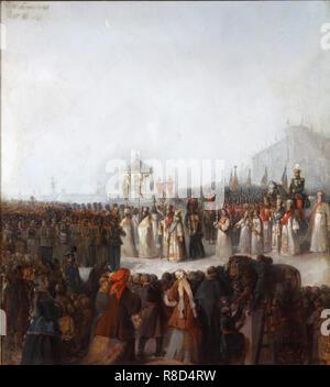 La grande benedizione delle acque del fiume Neva, 1850s. Presenti nella collezione del Museo di Storia e Arte, Yegoryevsk. Immagini Stock