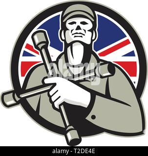 Illustrazione di un meccanico britannico Lavoratore che indossa hat holding chiave del pneumatico a 4 vie la chiave di manovra o pneumatico di ferro sul petto cercando di impostare nella protezione con unione Immagini Stock